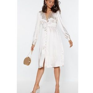 Satin Button Up Elegant Silky Midi Princess Dress